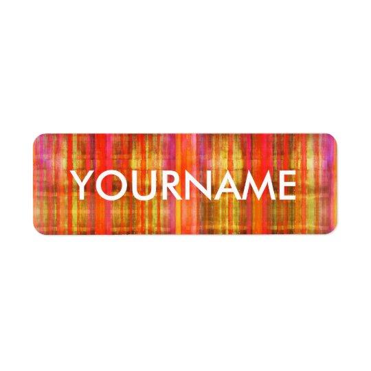 Colourful Stripes Art Pattern Name Label Return Address Label