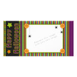 Colourful stripes - halloween colours and pattern customized photo card
