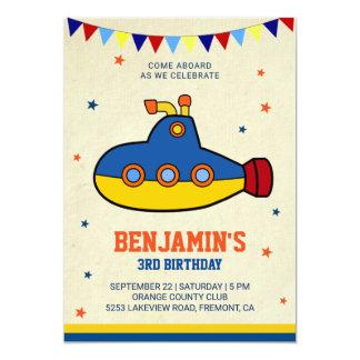 Colourful Submarine Kids Birthday Party Invitation
