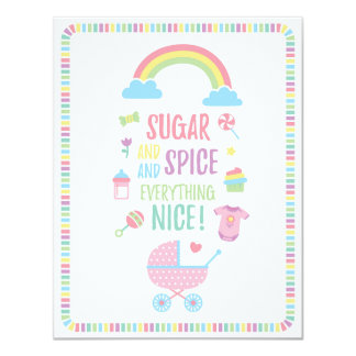 Colourful Sugar and Spice Girls Baby Shower Card