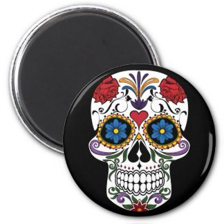 Colourful Sugar Skull 2¼ Inch Round Magnet