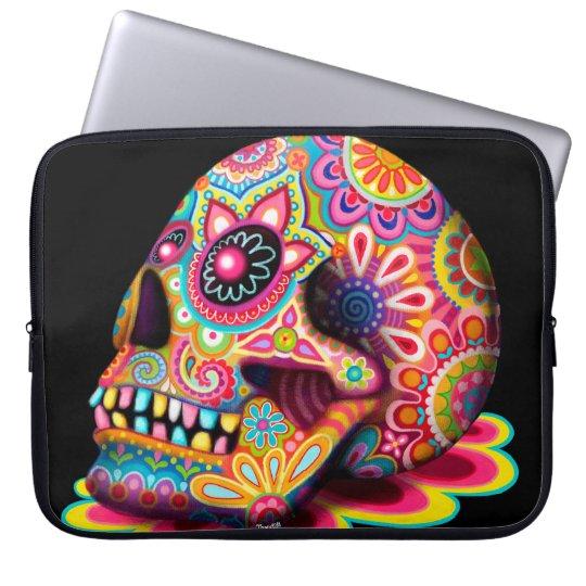 Colourful Sugar Skull Art Laptop Sleeve