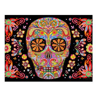 Colourful Sugar Skull Art Postcard