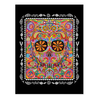 Colourful Sugar Skull Day of the Dead Postcard