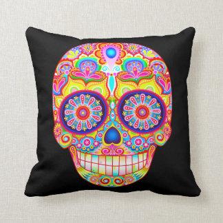 Colourful Sugar Skull Pillow - Day of the Dead Art Cushion