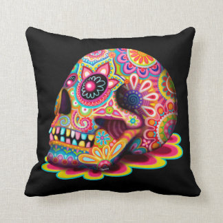 Colourful Sugar Skull Pillow - Day of the Dead Art Throw Cushion