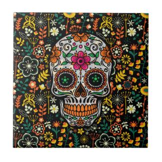 Colourful sugar Skull With Retro Flowers Small Square Tile