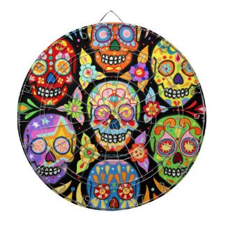 Colourful Sugar Skulls Dartboard Day of the Dead