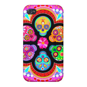 Colourful Sugar Skulls iPhone 4 Case by Case Savvy