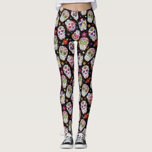 Colourful Sugar Skulls Patterned Leggings