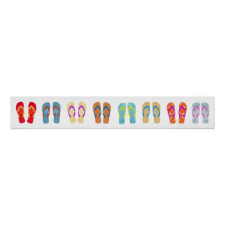 Colourful Summer Beach Flip Flops Horizontal