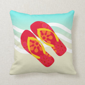 Colourful Summer Beach Flip Flops Throw Pillow