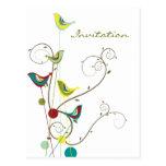 Colourful Summer Bird and Swirl Invitation Postcar