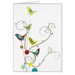 Colourful Summer Bird and Swirls Card