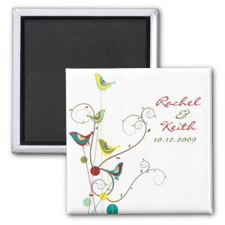 Colourful Summer Bird and Swirls Save-the-Date Square Magnet