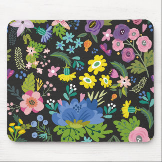 Colourful Summer Flower Pattern Mouse Pad