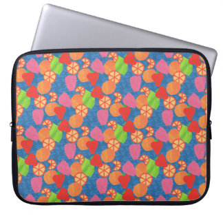 Colourful Summer Fruits Pattern on Deep Blue Laptop Sleeve