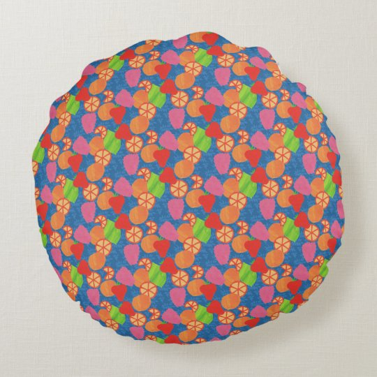 Colourful Summer Fruits Pattern on Deep Blue Round Cushion