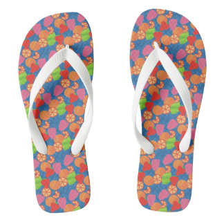 Colourful Summer Fruits Pattern on Deep Blue Thongs