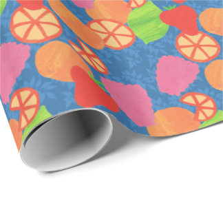 Colourful Summer Fruits Pattern on Deep Blue Wrapping Paper