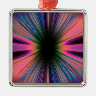 Colourful sunburst rays metal ornament