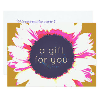 Colourful  Sunflower Floral Gift Certificate Card