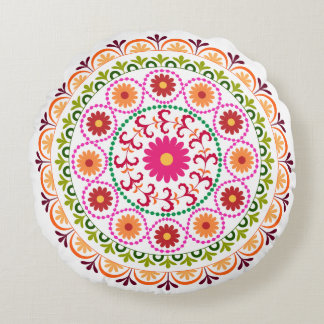 Colourful suzani style floral design round pillow