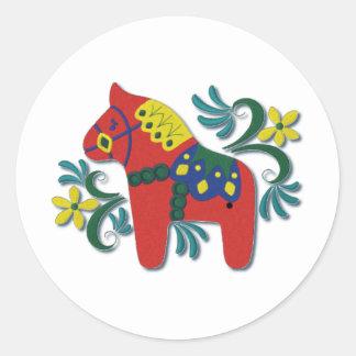 Colourful Swedish Dala Horse Classic Round Sticker