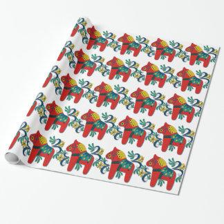 Colourful Swedish Dala Horse Wrapping Paper