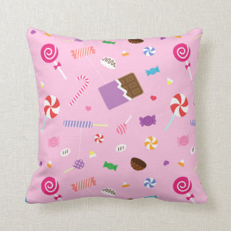 Colourful Sweet Candy Pink Pattern For Girls Room Cushion