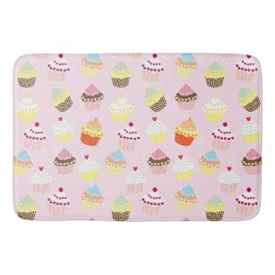 Colourful Sweet Cupcakes Pattern Bath Mat