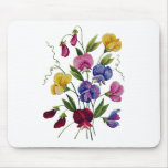Colourful Sweet Peas Embroidered Mouse Mat