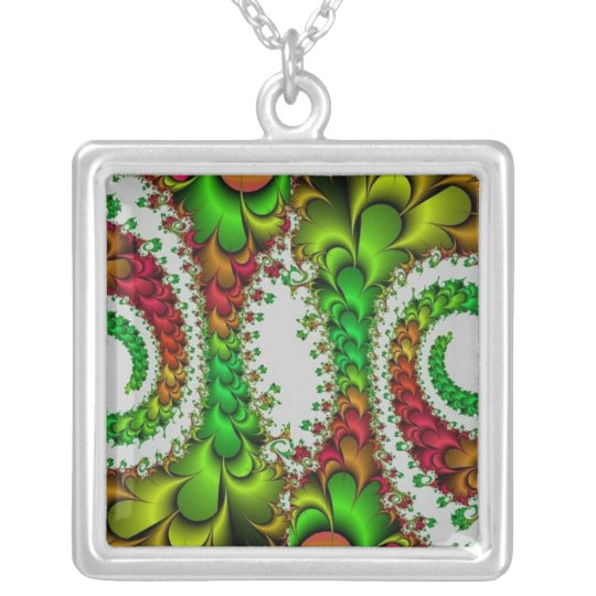 Colourful Swirl Design Silverplated Necklace