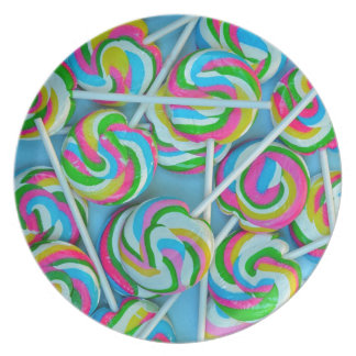 Colourful swirly lollipops pattern party plates
