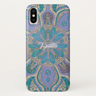 Colourful Teal  Purple Gold Mandala iPhone X Case
