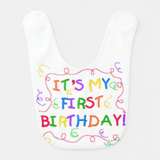 Colourful Text 1st Birthday Bib