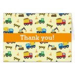 Colourful Thank You, Construction Vehicles Pattern Greeting Card
