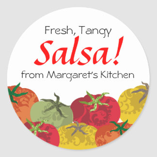colourful tomatoes from my kitchen gift tag round sticker