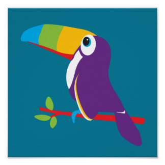 Colourful toucan graphic kids nursery art poster