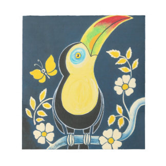 Colourful Toucan On Navy Blue Sky & White Flowers Notepads