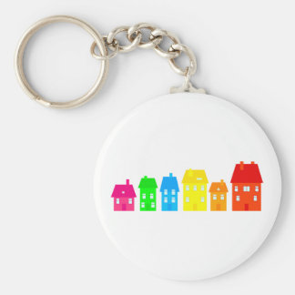 Colourful Town Basic Round Button Key Ring