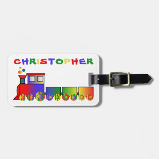 Colourful Train Personalised Luggage Tag