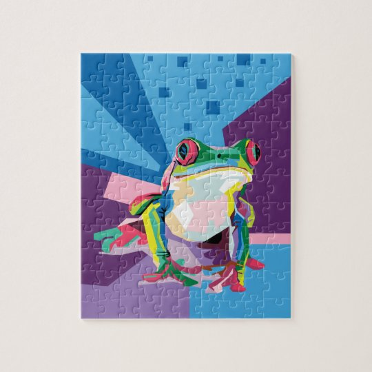 Colourful Tree Frog Portrait Jigsaw Puzzle