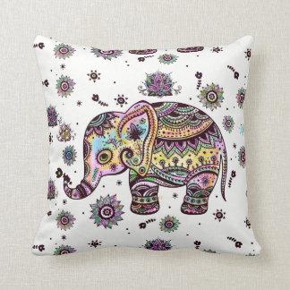 Colourful Tribal Floral Elephant Throw Pillow
