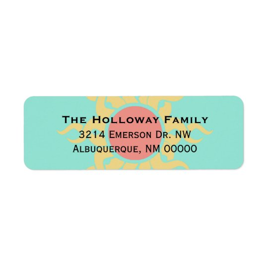 Colourful Tribal Sun Return Address Return Address Label