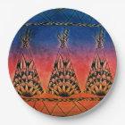 Colourful Tribal Teepees Art Boho Design Paper Plate