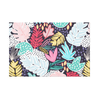 Colourful Tropical Collage Canvas Navy