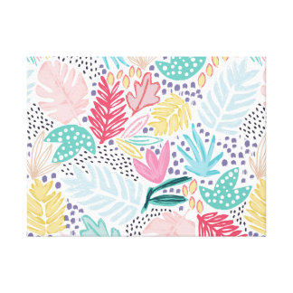 Colourful Tropical Collage Canvas White