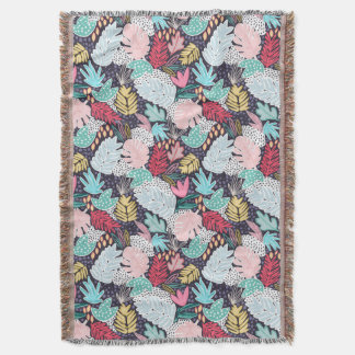 Colourful Tropical Collage Navy Base Blanket
