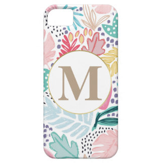 Colourful Tropical Collage Pattern & Monogram iPhone 5 Cases